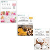 Mirabelle Korea Essential Facial Sheet Mask(Rose Turmeric Coconut - Rtc - Combo Pack Of 3)