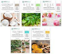 Mirabelle Korea Essential Facial Sheet Mask(Coconut, Neem, Rose, Tea Tree, Turmeric - Combo Pack Of 5)