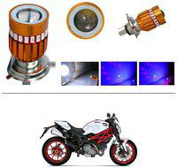 KunjZone H4 Police Light Style Red & Blue Cree Projector LED Super & Low Beam Bike Headlight Bulb For Ducati Monster 796 S2R