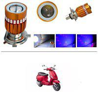 KunjZone H4 Police Light Style Red & Blue Cree Projector LED Super & Low Beam Bike Headlight Bulb For Piaggio Vespa SXL