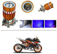 KunjZone H4 Police Light Style Red & Blue Cree Projector LED Super & Low Beam Bike Headlight Bulb For KTM RC 390