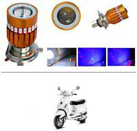 KunjZone H4 Police Light Style Red & Blue Cree Projector LED Super & Low Beam Bike Headlight Bulb For Piaggio Vespa LX