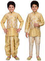 AJ Dezines Kids Ethnic Wear Kurta Waistcoat and Dhoti Pant for Boys(1906_FAWN_0)
