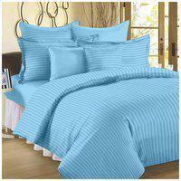 SHAKRIN Satin Striped King Bedsheet ( 1 Bedsheet with 2 Pillow Covers , Blue )