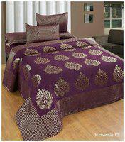 ELLONIA Velvet Floral Queen Bedsheet ( 1 Bedsheet with 2 Pillow Covers , Multi )