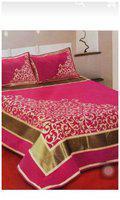 ELLONIA Velvet Printed Queen Bedsheet ( 1 Bedsheet with 2 Pillow Covers , Multi )