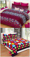 SHAKRIN Poly Cotton 3D Printed Double Bedsheet ( 2 Bedsheets with 4 Pillow Covers , Multi )