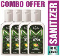 Mistpoffer Fresh Impact Citrus & Cedarwood Natural Hand Sanitizer (60 ml Each) Pack of 4