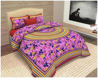 KEYLINE Cotton Printed Double Bedsheet ( 1 Bedsheet with 2 Pillow Covers , Pink )