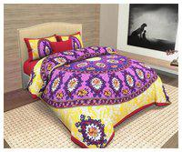 KEYLINE Cotton Printed Double Bedsheet ( 1 Bedsheet with 2 Pillow Covers , Purple )