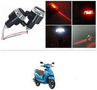 KunjZone Bike Handlebar Light Indicators with Laser Light Bar End Turn Signal Grip Weight Light Double Light (Red & White) For TVS Wego
