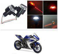 KunjZone Bike Handlebar Light Indicators with Laser Light Bar End Turn Signal Grip Weight Light Double Light (Red & White) For Yamaha YZF R25