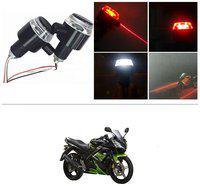 KunjZone Bike Handlebar Light Indicators with Laser Light Bar End Turn Signal Grip Weight Light Double Light (Red & White) For Yamaha R15 s
