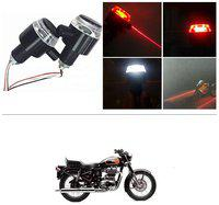 KunjZone Bike Handlebar Light Indicators with Laser Light Bar End Turn Signal Grip Weight Light Double Light (Red & White) For Royal Enfield 500