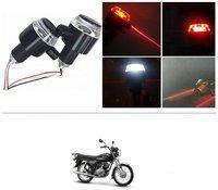 KunjZone Bike Handlebar Light Indicators with Laser Light Bar End Turn Signal Grip Weight Light Double Light (Red & White) For Yamaha Crux