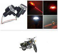 KunjZone Bike Handlebar Light Indicators with Laser Light Bar End Turn Signal Grip Weight Light Double Light (Red & White) For Royal Enfield Battle