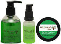Natural Vibes Ayurvedic Acne Control 1 Tea Tree Serum 30 ml 1 Tea Tree Face Wash 150 ml and 1 Tea Tree & Activated Charcoal Face Pack 50 gm (Pack of 3)