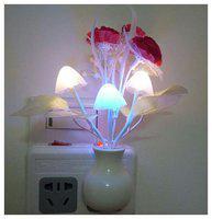 bg bazzar gali Night Light with Smart Sensor,0.7W Plug-In,Romantic Color Change,Mushroom&Lotus Leaf Lamp ( 1 pc. )