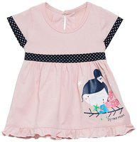 Camey Baby girl Cotton Printed Collar frock - Pink