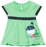 Camey Baby girl Cotton Printed Collar frock - Green