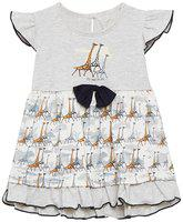 Camey Baby girl Cotton Printed Collar frock - Grey