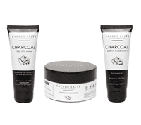 Sacred Salts Charcoal Face Wash;Face Scrub & Peel Off Mask (Face wash 75gm;scrub 100gm;Mask 100gm)(Pack of 3)