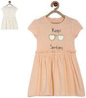 Mini Klub Girls Midi/Knee Length Casual Dress(Multicolor, Cap Sleeve)