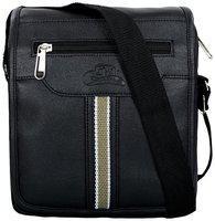 Leather World Black Faux leather Sling bag
