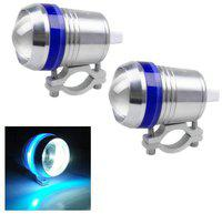 Andride AD-UL3 LED U3 Fog Light with Blue Angel Eyes Motorcycle Headlight Spot Lights Waterproof Bulb Silver;Pack of 2