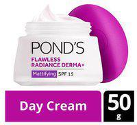 Ponds Day Cream - Mattifying Flawless Radiance Derma plus  Spf 15 Pa plus plus plus 50 gm