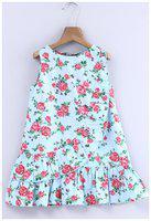 Beebay Girls 100% Cotton Woven Floral Print Frill Dress (Blue)