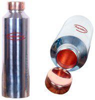 COPPERKING 900 ml Stainless Steel & Copper Silver Water Bottles & Fridge Bottles - Set of 1