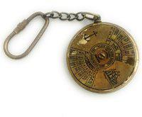 Antique Finish Brass 100 Years Calendar Working Keychain