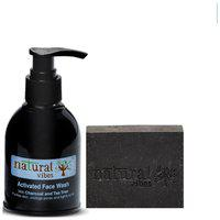 Natural Vibes Ayurvedic Activated Charcoal Face Wash and Soap combo - 150 ml plus 150g