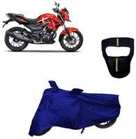De-Autocare Premium Quality Royal Blue Matty Bike Body Cover for Hero Xtreme 200R With Free Anti Dust / Pollution Protective Big/Full Face Mask For Men & Women