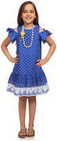 BIBA Blue A Line Cotton Dress Size 7 (KW3281)