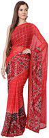 Soch Geometric Print Fashion Georgette Saree(Red)