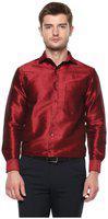 Khodaywilliams Men's Poly Silk Full Sleeves Casual Shirt, Regular Fit (maroon_38)