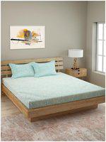 ROMEE Cotton Paisley Queen Bedsheet ( 1 Bedsheet with 2 Pillow Covers , Green )