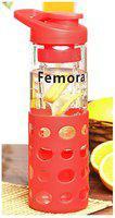 Femora 700 ml Glass Red Water Bottles - Set of 1