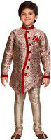 AJ Dezines Indi Boys Festive & Party Sherwani and Churidar Set(Maroon Pack of 1)