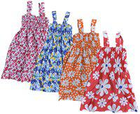 IndiStar Baby Girls Cotton Printed Frock (Multi)