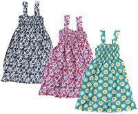 IndiStar Multi Cotton Sleeveless Knee Length Princess Frock ( Pack of 3 )