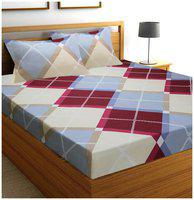 SKY TEX Cotton Geometric King Bedsheet ( 1 Bedsheet with 2 Pillow Covers , Multi )