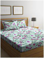 SWHF Cotton Floral Double Size Bedsheet 144 TC ( 1 Bedsheet With 2 Pillow Covers , Pink & Green )