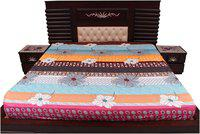 Dream Care Cotton Printed King Size Bedsheet ( 1 Bedsheet Without Pillow Covers , Multi )
