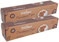 Freshee 25 Meter Parchment Butter Paper Roll and Free Plastic Cutter Inside (Pack of 2)