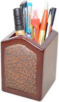 Handcrafted Wooden Pen Holder 1 Compartments (Brown)