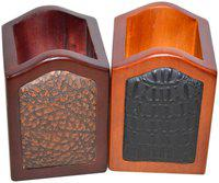 Handcrafted Wooden Pen Holder 2 Compartments (Multi)