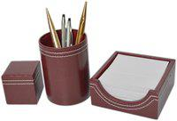 Knott Brown Set of Slip Holder, Pen Holder and paper weight